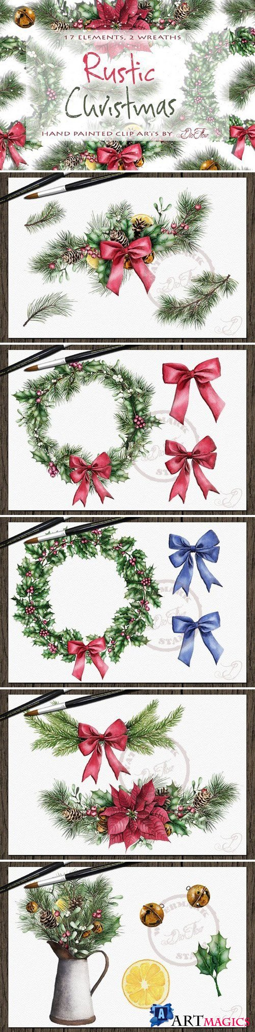 Rustic Christmas Watercolor Clip Art 2102619