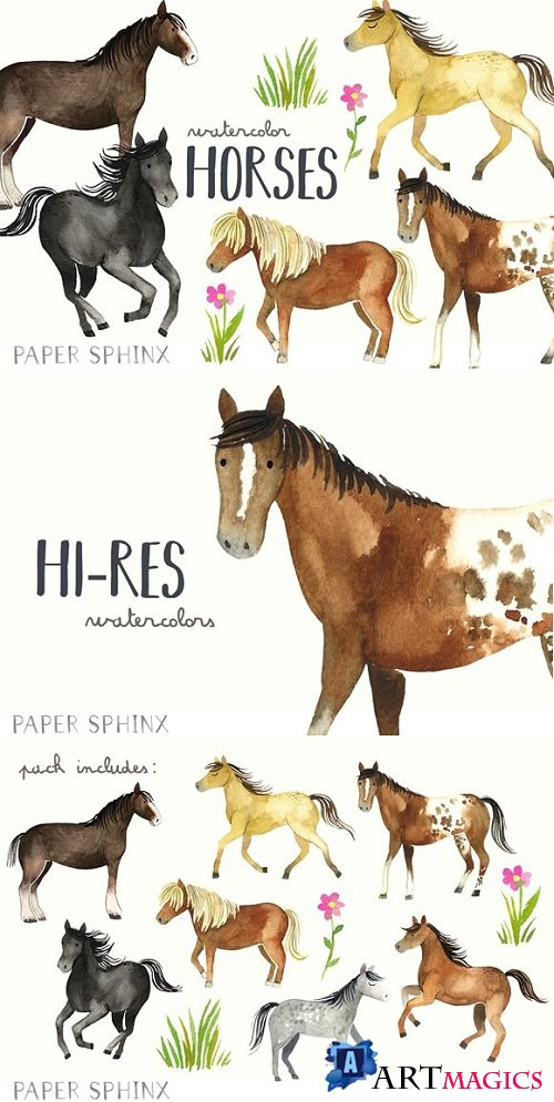Watercolor Horses Clipart Pack 2090057