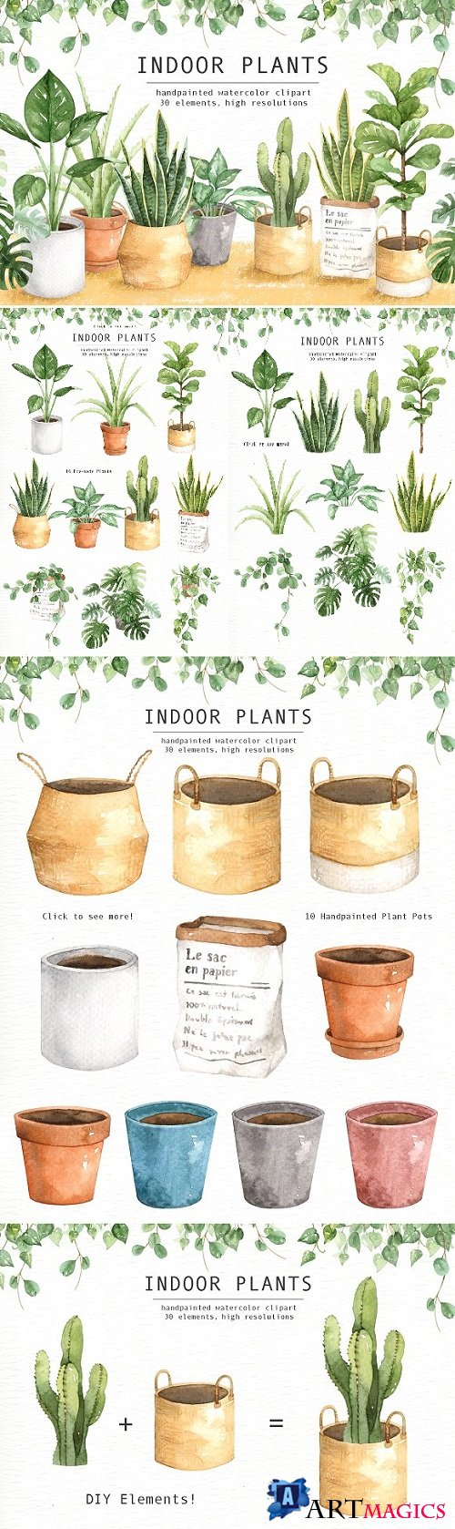 Indoor Plants Watercolor Clipart 2095608