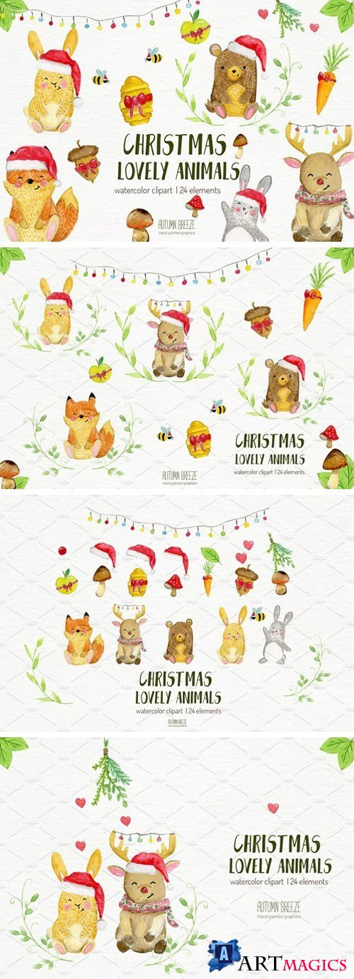 watercolor Christmas animals 1243154