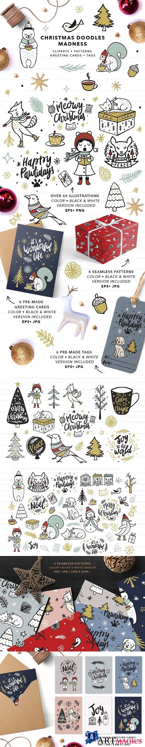 Christmas Doodles Set EPS & PNG 2071982