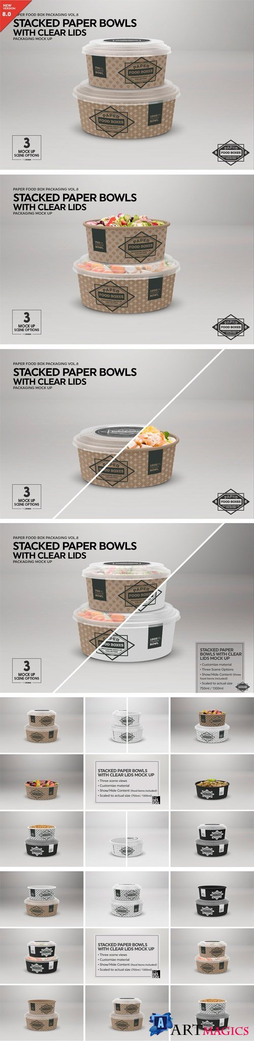 Stacked Paper Bowls Mock Up 2181789