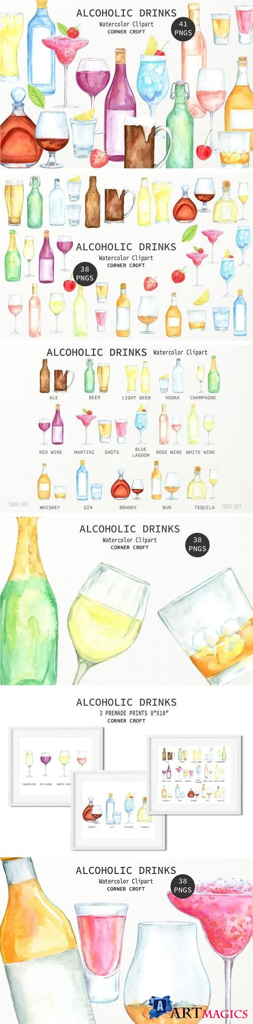 Watercolor Alcoholic Drinks Illustration - 2261398