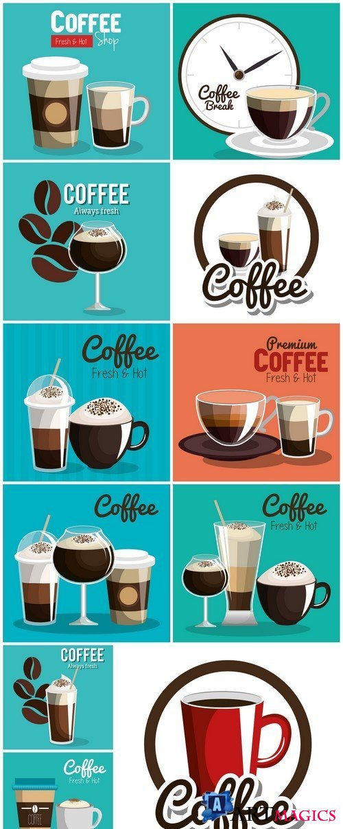 Delicious coffee poster vector illustration design #2 11X EPS