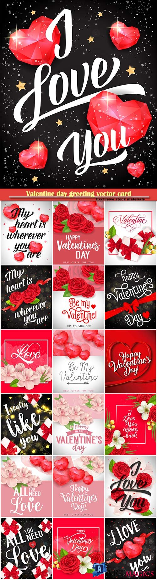 Valentine day greeting vector card, hearts i love you # 21