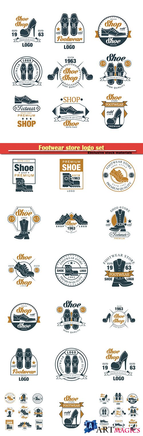 Footwear store logo set, shoe style premium quality vector Illustrations