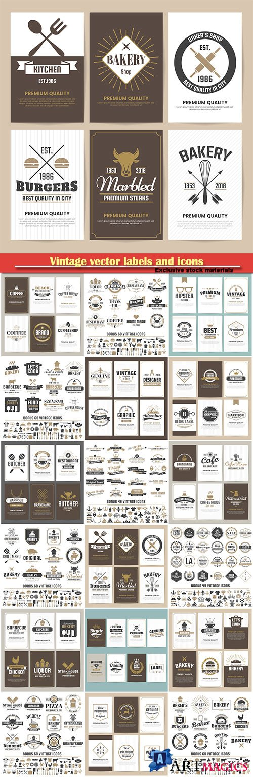 Vintage vector labels and icons
