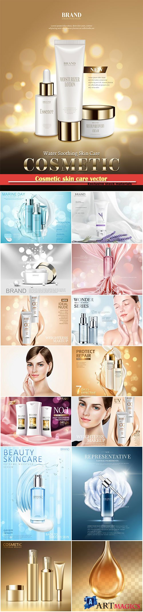 Cosmetic skin care vector, moisturizing cream in 3d illustration