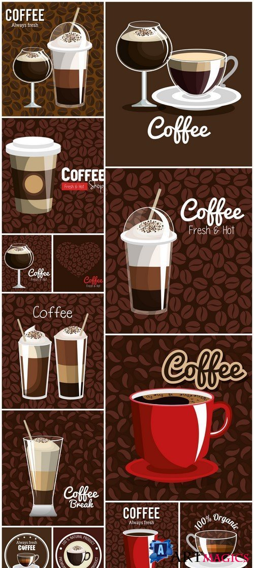 Delicious coffee poster vector illustration design 13X EPS