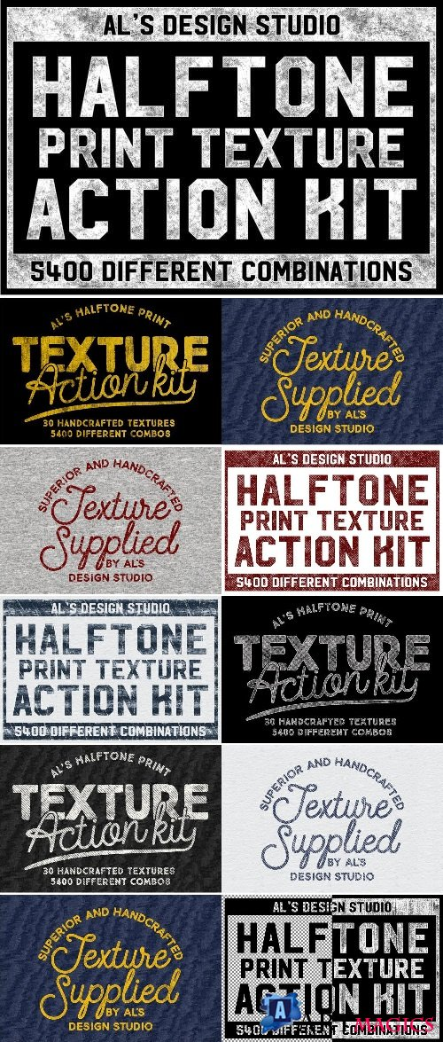 Halftone Print Texture Action Kit - 1934331