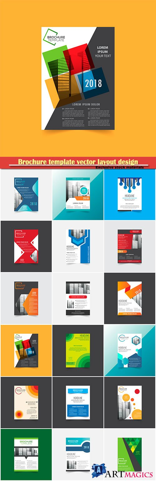 Brochure template vector layout design, corporate business annual report, magazine, flyer mockup # 124