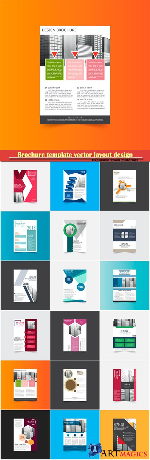 Brochure template vector layout design, corporate business annual report, magazine, flyer mockup # 123