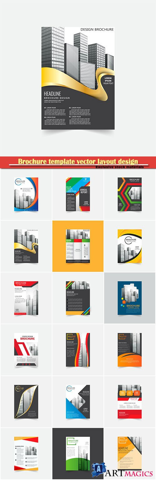 Brochure template vector layout design, corporate business annual report, magazine, flyer mockup # 120