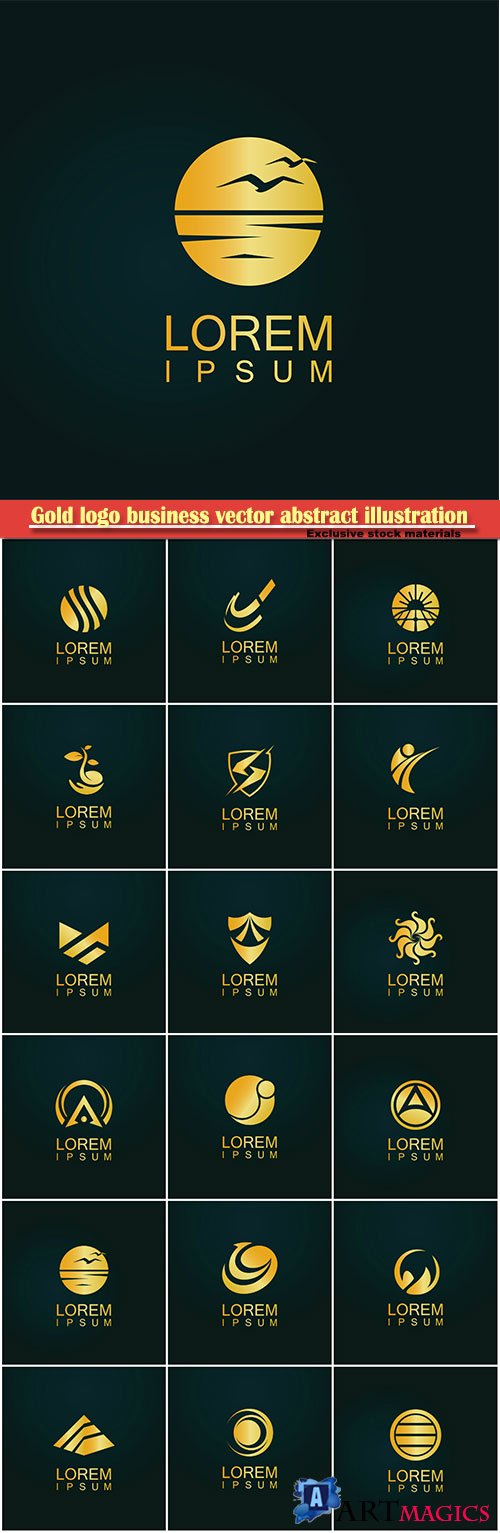 Gold logo business vector abstract illustration # 37