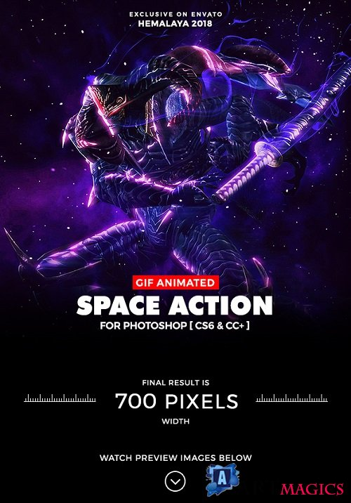 Animated Space Photoshop Action 21309424
