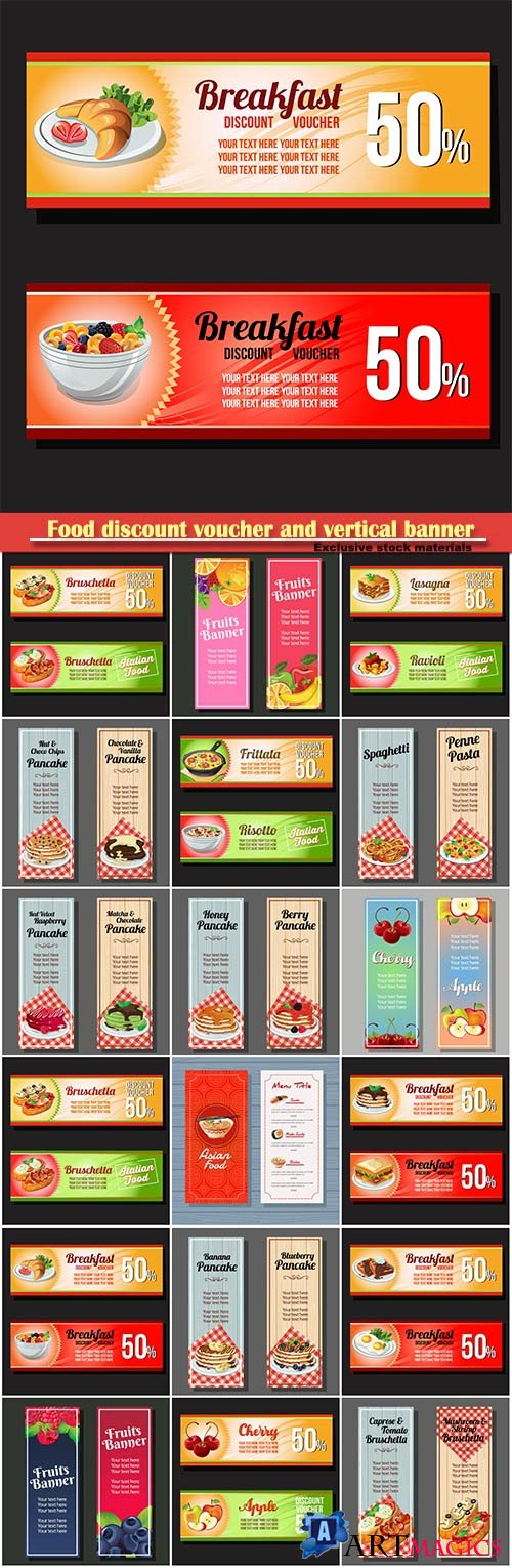 Food discount voucher and vertical vector banner menu
