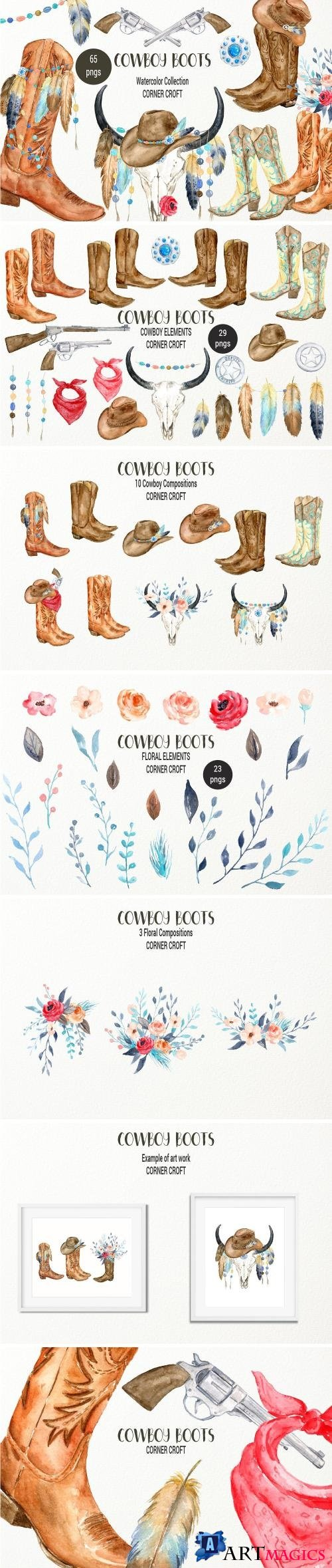 Watercolor Cowboy Boots And Accessory collection - 2272625
