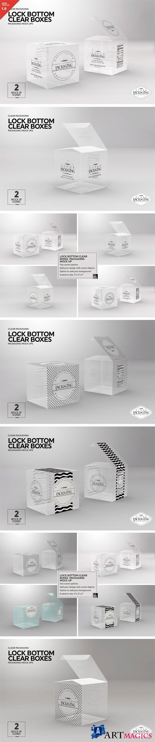 Clear Lock Bottom Boxes MockUp - 2221915