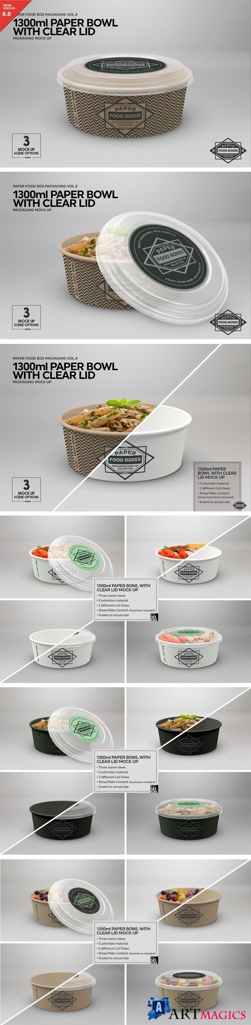 1300ml Paper Bowl Clear Lid MockUp - 2181793