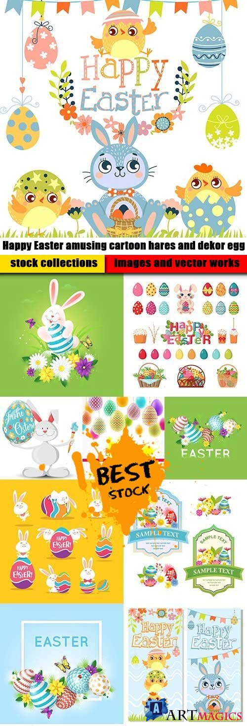 Happy Easter amusing cartoon hares and dekor egg