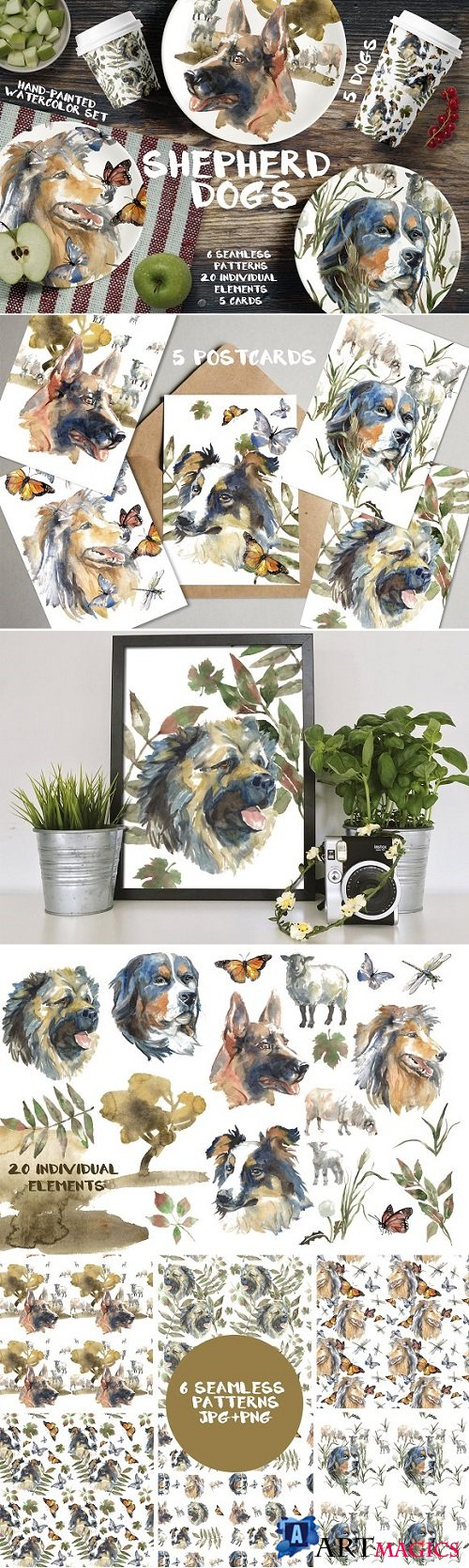 Shepherd dogs watercolor set - 2203945