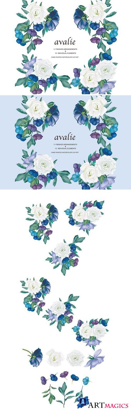 White & Blue Rose Arrangements 1910019