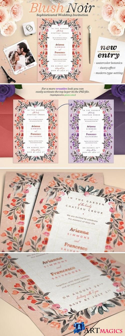 Blush Noir Wedding Invite IV 2202908