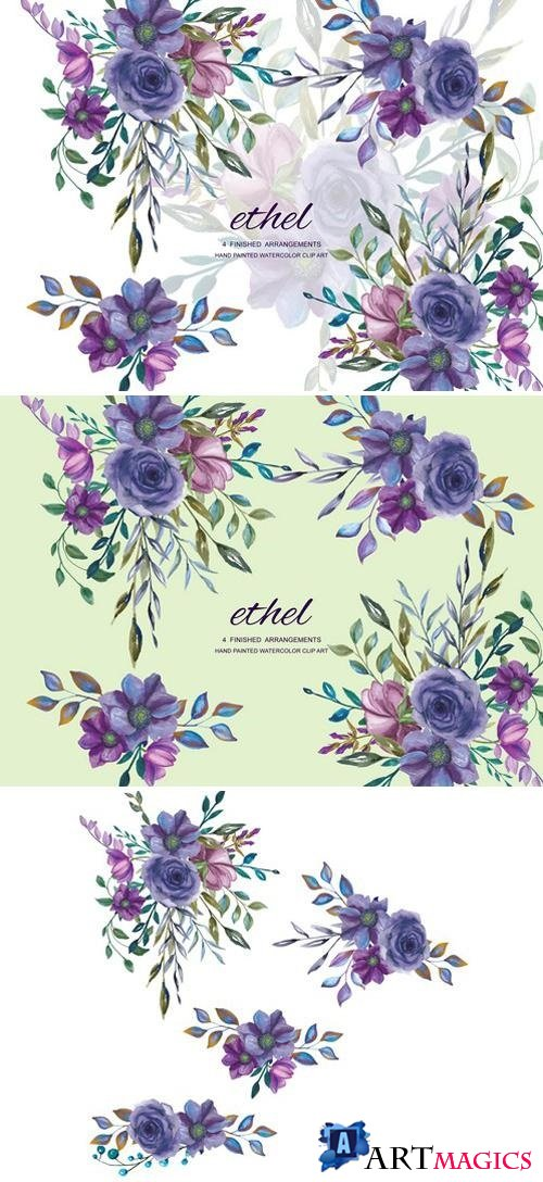 Watercolor Purple Floral Clip Art 1904554
