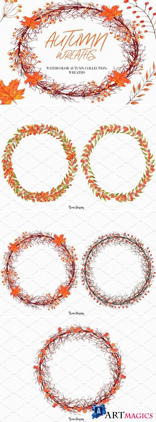 Watercolor Autumn Wreaths clipart 2203428