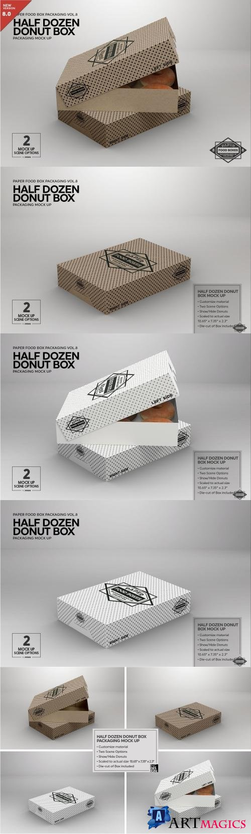 Half Dozen Donut Box Mock Up - 2181807