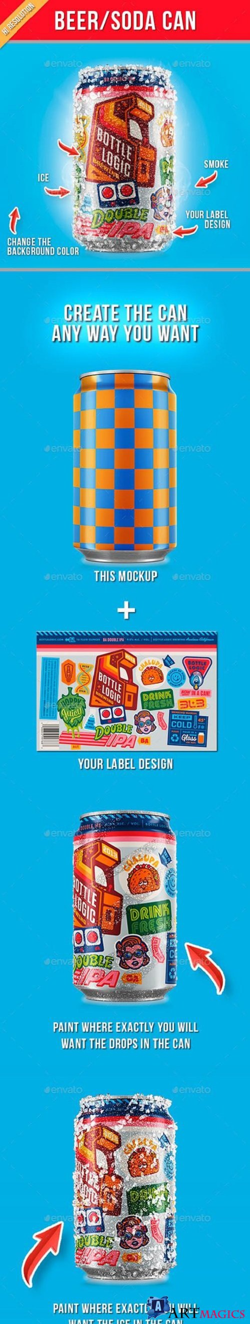 Beer Soda Can Mockup 21352984