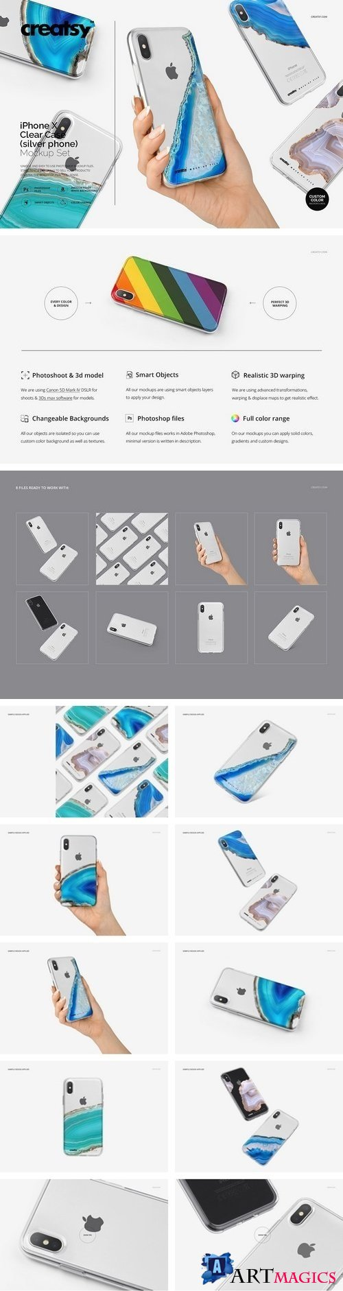 iPhone X Clear Case Mockup Set Silv. 2064037