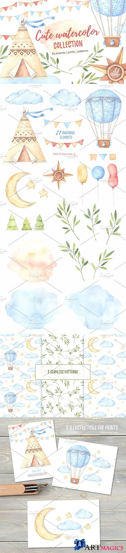 Children's watercolor clip art 1503843