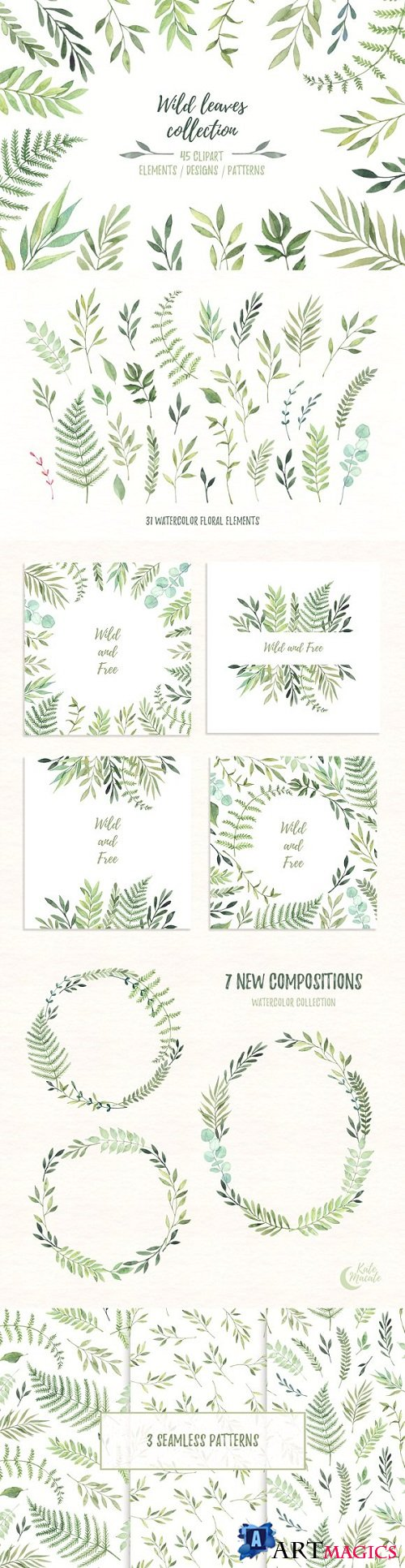 Wild leaves clip art. Watercolor set - 1465949