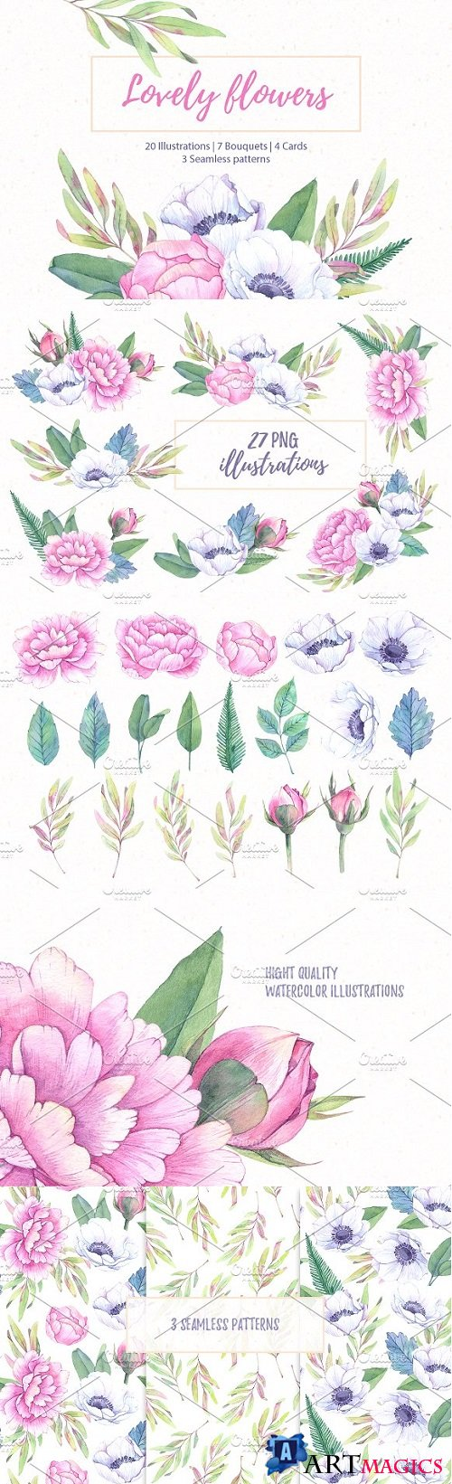 Lovely flowers. Watercolor set - 1371730