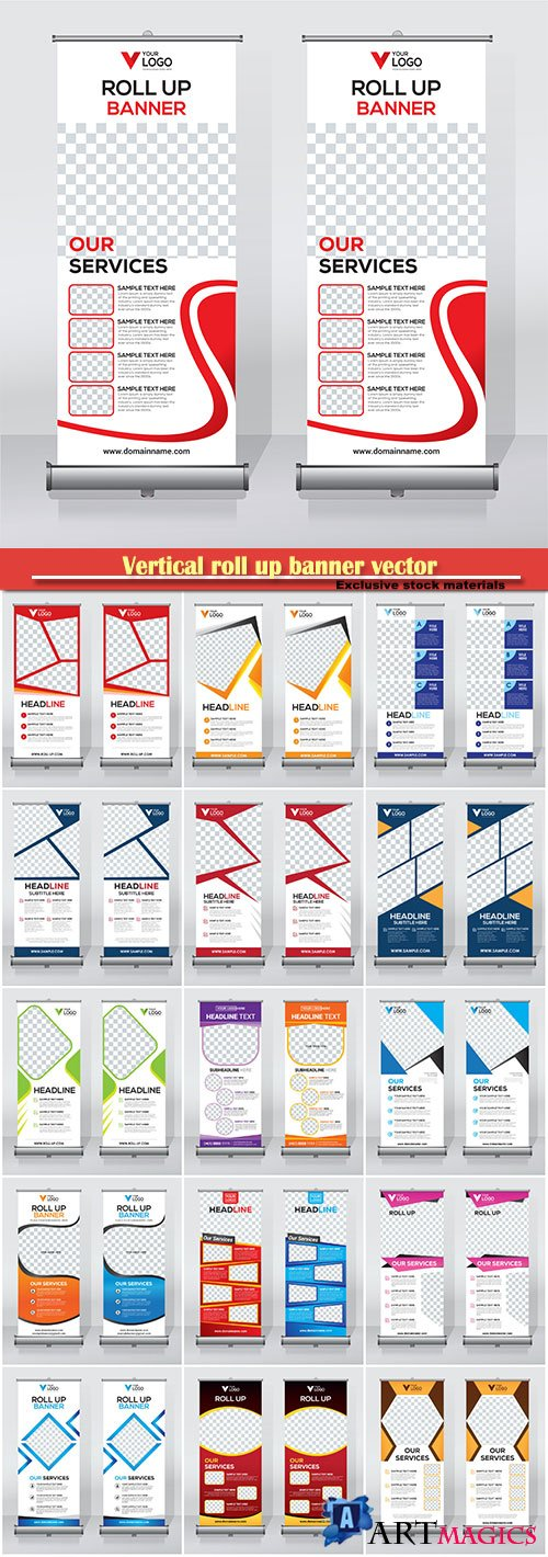 Vertical roll up banner vector business template # 12