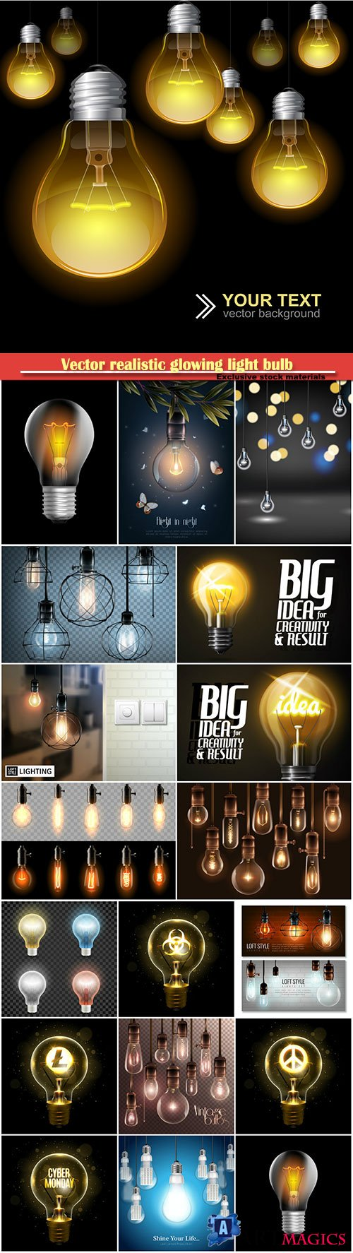 Vector realistic glowing light bulb