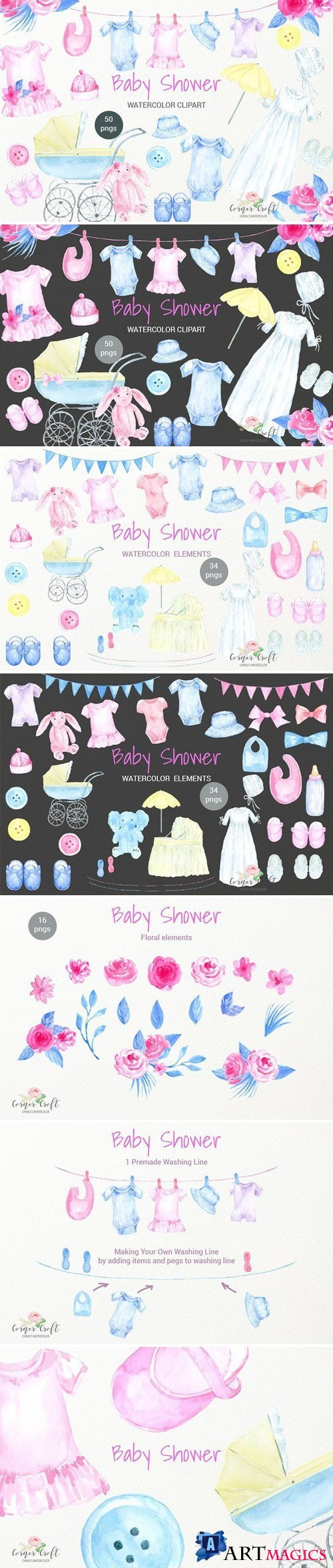 Watercolor Baby Shower Clipart 2232641