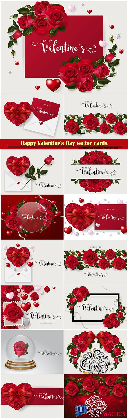 Happy Valentine's Day vector cards, red roses and hearts, romantic backgrounds # 2