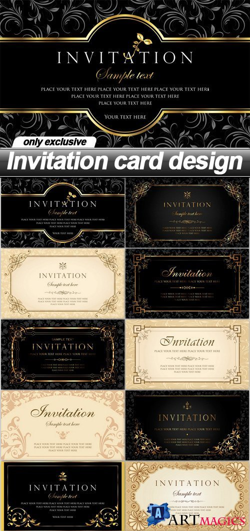 Invitation card design - 12 EPS