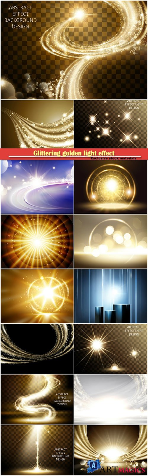 Glittering golden light effect, satin vector background
