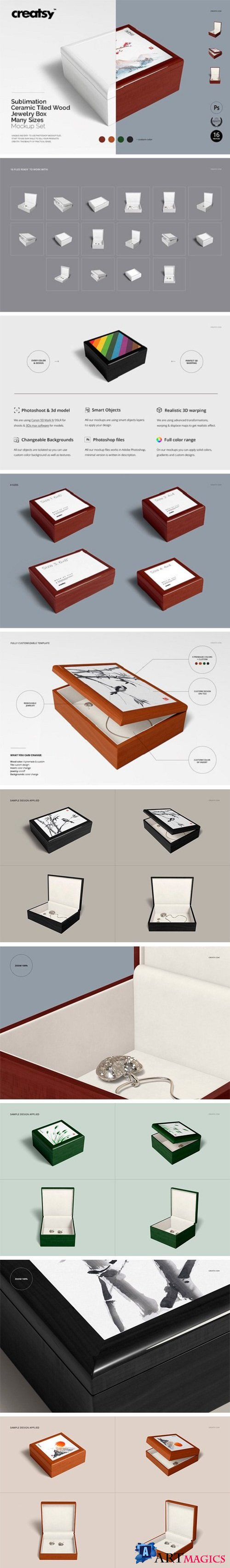 Tiled Wood Jewelry Box Mockup Set - 2249144