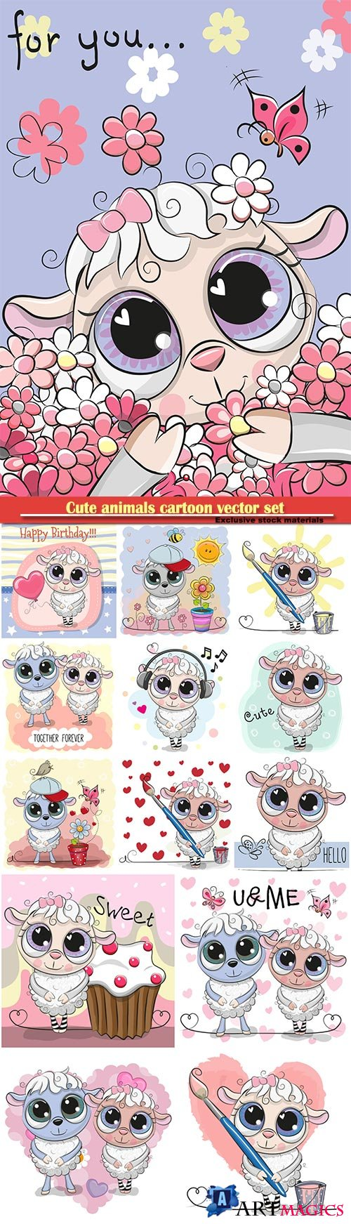 Cute sheep cartoon vector set