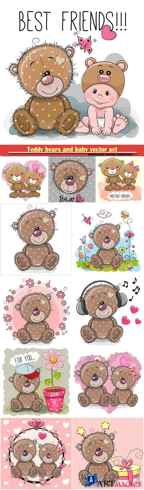 Teddy bears and baby vector set