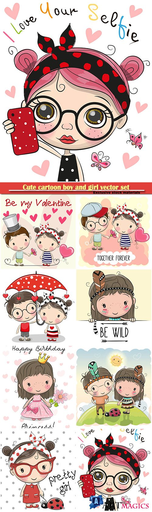 Cute cartoon boy and girl vector set
