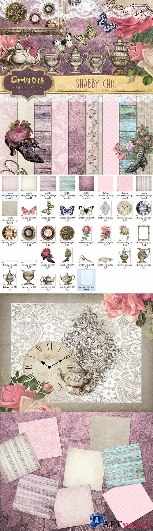 Shabby Chic Digital Scrapbooking Kit - 955585