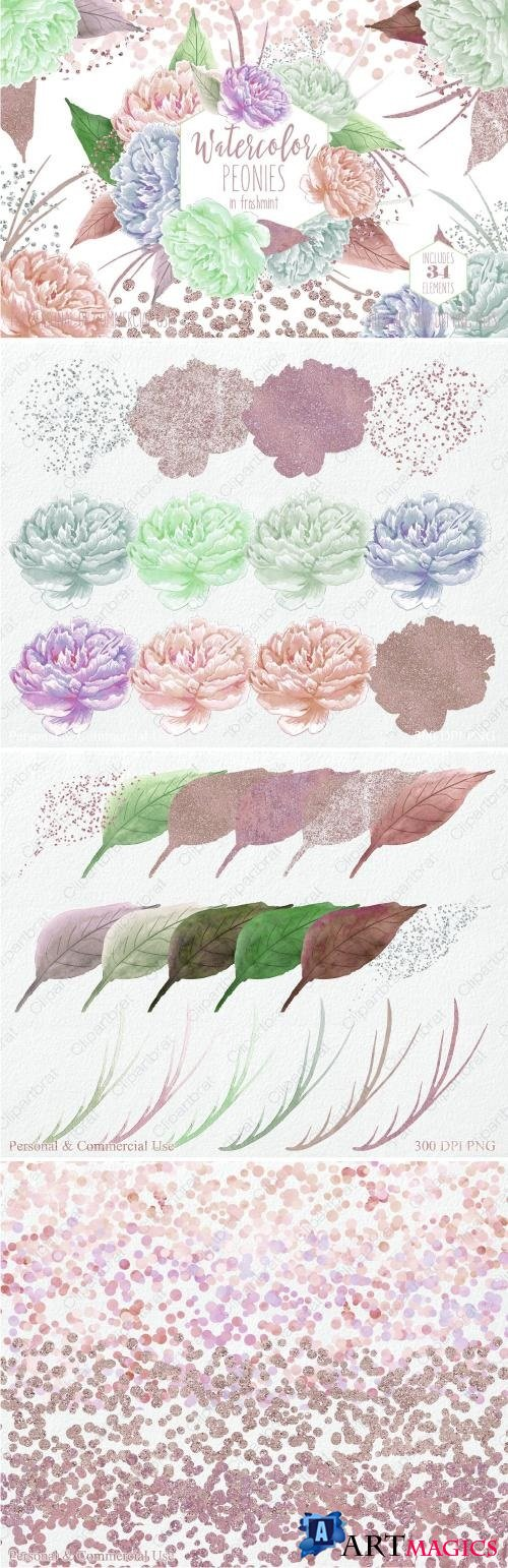 Freshmint Watercolor Peonies - 2182382