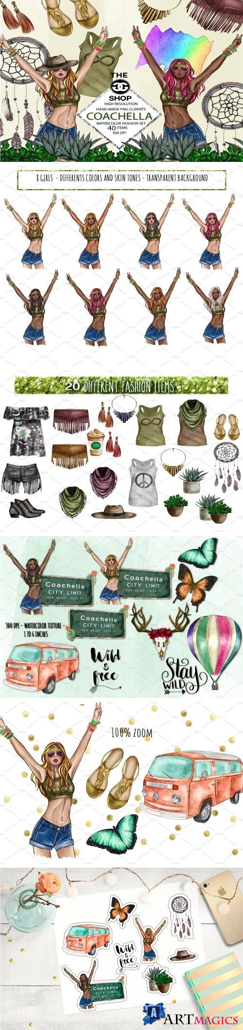 Coachella Watercolor PNG Set - 2221450
