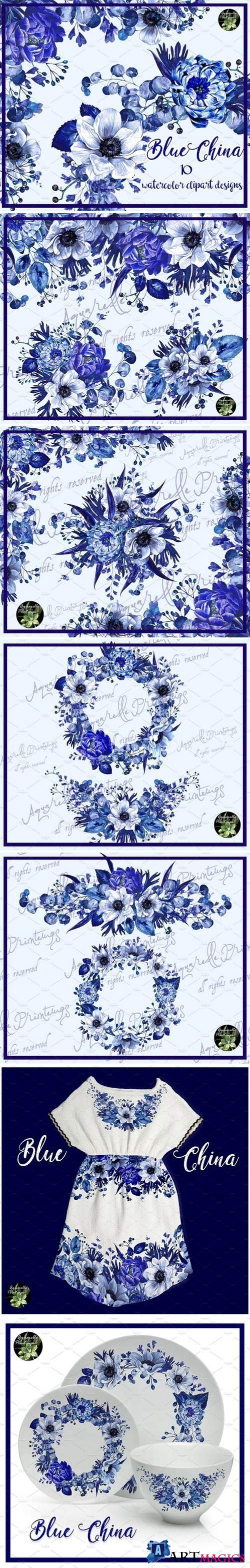 Blue China set 10 watercolor clipart 2232956