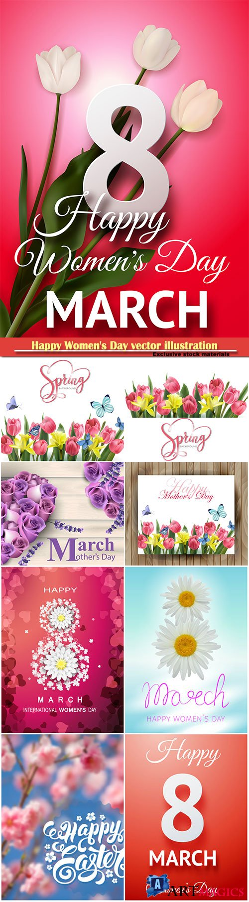 Happy Women's Day vector illustration,8 March, spring flower background # 7